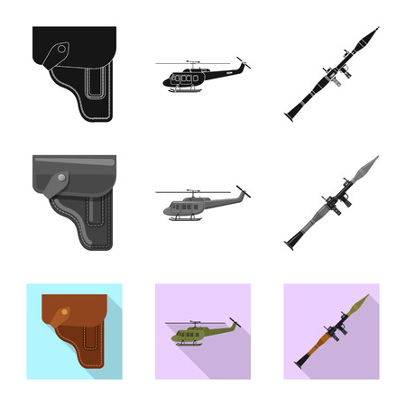 Isolated object of weapon and gun logo. Set of weapon and army stock vector illustration.
