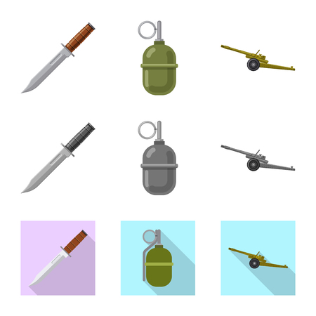 Isolated object of weapon and gun icon. Set of weapon and army stock symbol for web. Stock Vector - 115106753