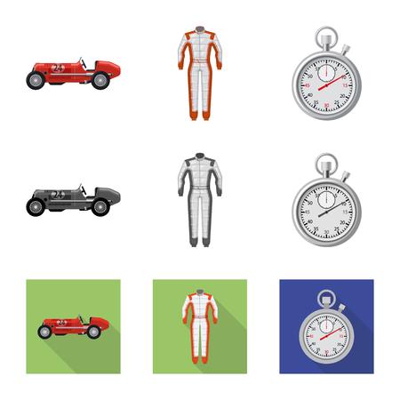Ilustración de vector de coche y señal de rally. Conjunto de símbolo de stock de coches y carreras para web.