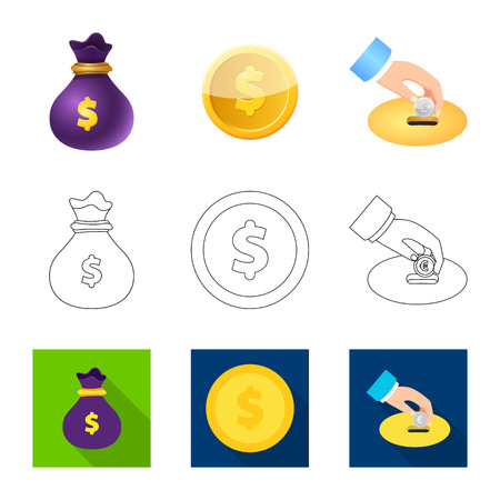 Vector design of bank and money symbol. Set of bank and bill vector icon for stock.