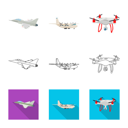 Vector design of plane and transport icon. Collection of plane and sky stock vector illustration.