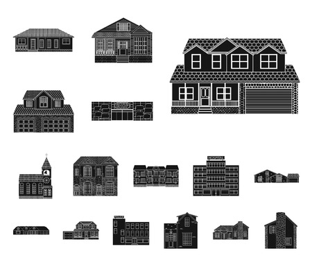 Vector illustration of building and front icon. Set of building and roof vector icon for stock.
