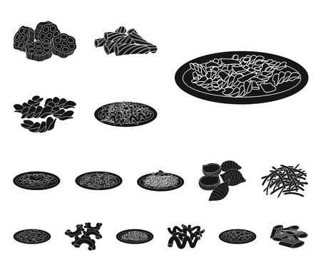 Vector illustration of pasta and carbohydrate icon. Set of pasta and macaroni vector icon for stock.