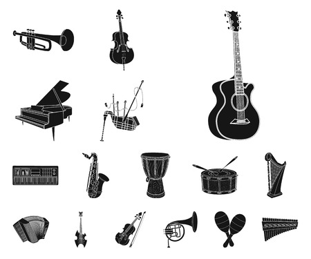Isolated object of music and tune logo. Set of music and tool vector icon for stock. Ilustração