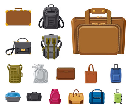Vector illustration of suitcase and baggage symbol. Set of suitcase and journey vector icon for stock.