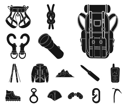 Vector illustration of mountaineering and peak symbol. Collection of mountaineering and camp stock symbol for web. 向量圖像