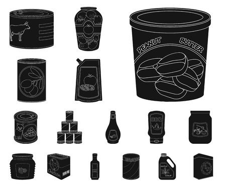 Isolated object of can and food icon. Collection of can and package vector icon for stock.