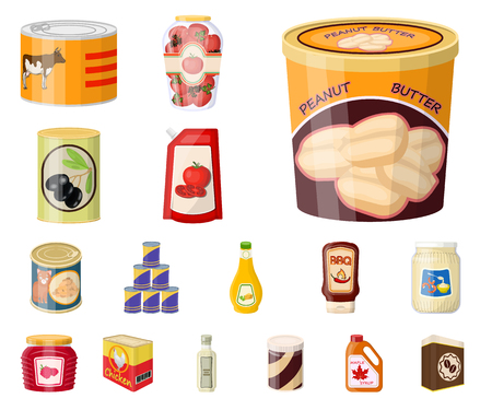 Isolated object of can and food sign. Collection of can and package stock vector illustration.