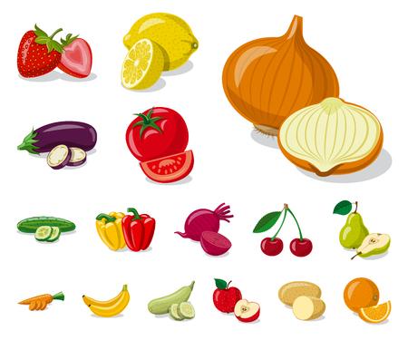 Vektordesign des Gemüse- und Fruchtzeichens. Sammlung von Gemüse und vegetarischen Lager Vektor-Illustration.