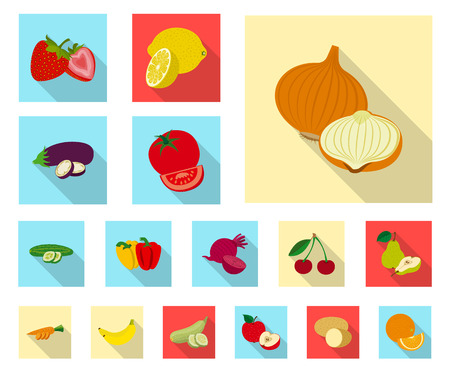 Isolated object of vegetable and fruit symbol. Collection of vegetable and vegetarian stock symbol for web.