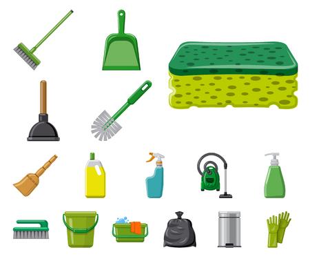 Ilustración de vector de símbolo de limpieza y servicio. Conjunto de ilustración de vector de stock de limpieza y hogar.