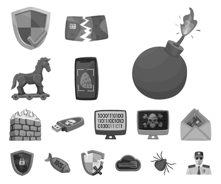 Vector design of virus and secure icon. Collection of virus and cyber stock vector illustration.