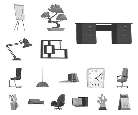 Vector illustration of furniture and work sign. Set of furniture and home vector icon for stock. 矢量图像