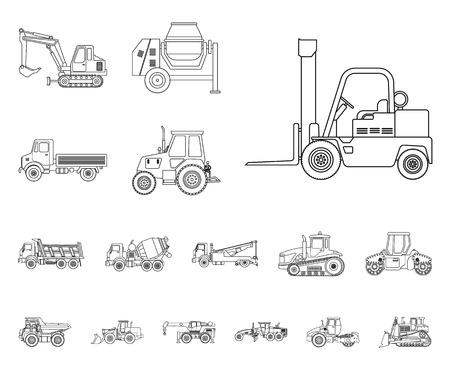 Conception vectorielle du signe de construction et de construction. Ensemble de symboles boursiers de construction et de machines pour le web.