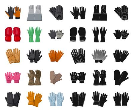 Illustration vectorielle du logo gant et hiver. Collection d'icônes vectorielles de gants et d'équipements pour le stock. Logo