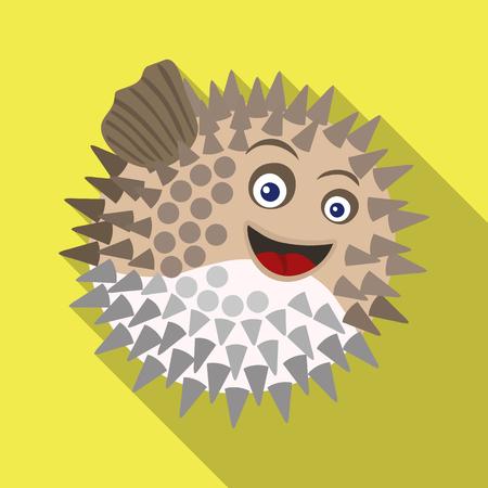 Diseño vectorial de logo de mar y animales. Conjunto de icono de vector de mar y marina para stock.