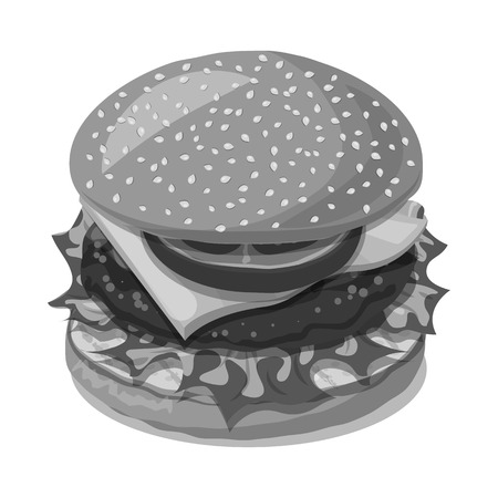 Vector illustration of burger and sandwich icon. Set of burger and slice vector icon for stock. Illustration