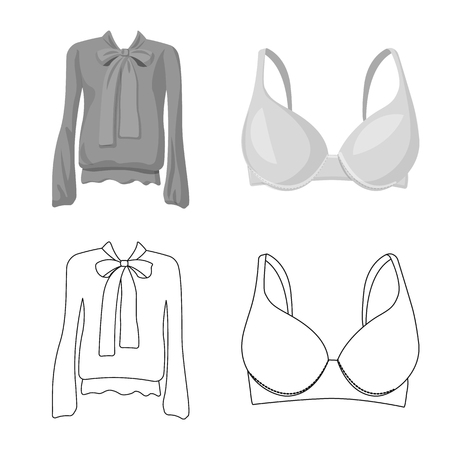 Vector illustration of woman and clothing icon. Collection of woman and wear vector icon for stock.