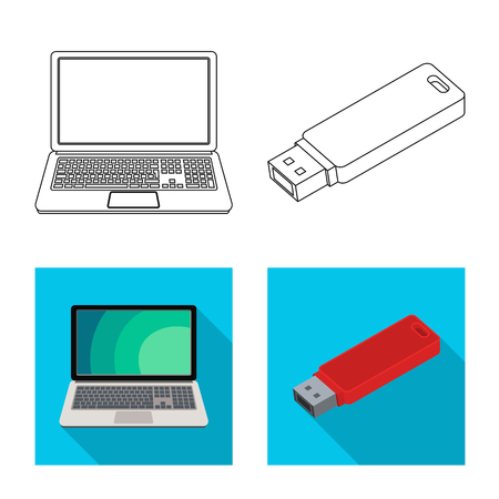Isolated object of laptop and device logo. Collection of laptop and server stock vector illustration.
