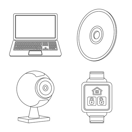Isolated object of laptop and device symbol. Collection of laptop and server vector icon for stock. Illustration