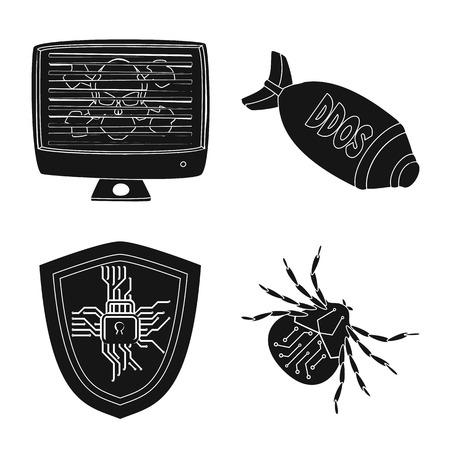 Vector illustration of virus and secure logo. Collection of virus and cyber vector icon for stock. Иллюстрация