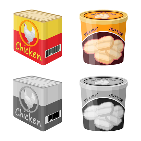 Vector illustration of can and food logo. Collection of can and package stock vector illustration. Illustration