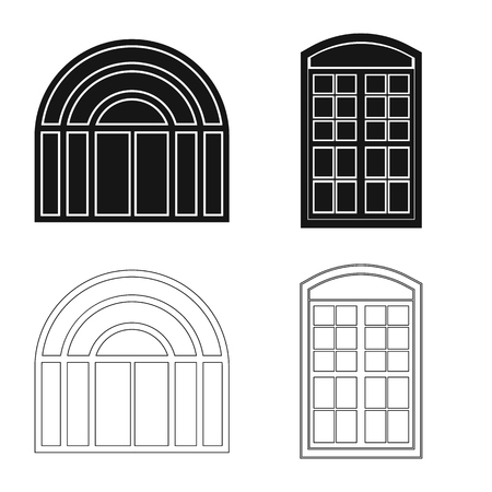 Isolated object of door and front icon. Collection of door and wooden stock vector illustration.
