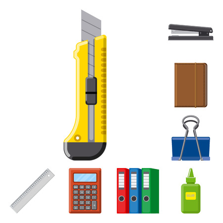 Vector design of office and supply sign. Collection of office and school vector icon for stock. Vecteurs