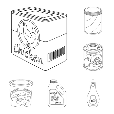 Isolated object of can and food logo. Set of can and package stock symbol for web.