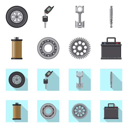 Vector design of auto and part sign. Set of auto and car vector icon for stock.