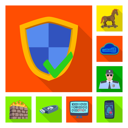 Vector illustration of virus and secure sign. Set of virus and cyber stock symbol for web.