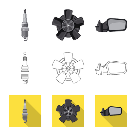 Vector design of auto and part symbol. Collection of auto and car stock symbol for web.