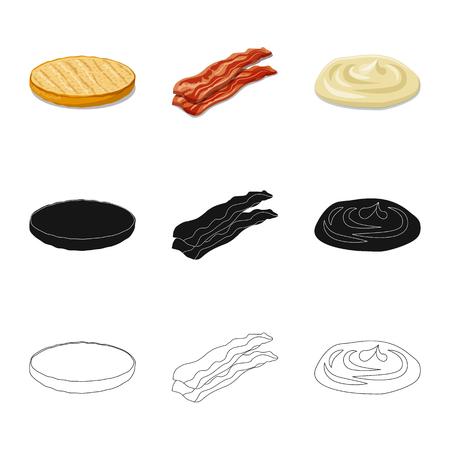 Diseño vectorial de logo de hamburguesa y sándwich. Colección de ilustración de vector stock hamburguesa y rebanada.