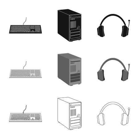 Vector illustration of laptop and device icon. Collection of laptop and server stock symbol for web.