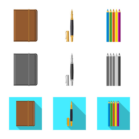 Vector illustration of office and supply symbol. Set of office and school stock vector illustration. Ilustrace