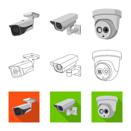 Diseño vectorial de cctv y cámara. Colección de cctv y símbolo de stock del sistema para web. Ilustración de vector