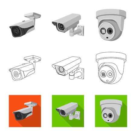 Vektordesign von CCTV und Kamera. Sammlung von CCTV- und Systemaktiensymbolen für das Web. Vektorgrafik