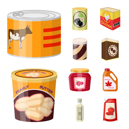 Vector design of can and food sign. Set of can and package stock symbol for web.