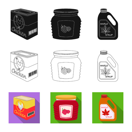 Vector design of can and food icon. Set of can and package stock symbol for web.