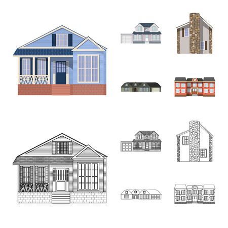 Vector design of building and front symbol. Collection of building and roof vector icon for stock. Ilustração