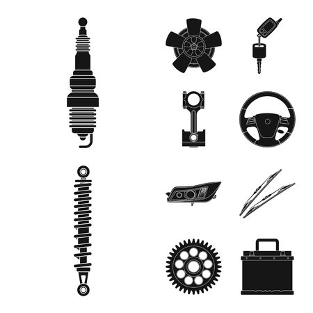 Isolated object of auto and part sign. Collection of auto and car stock symbol for web.