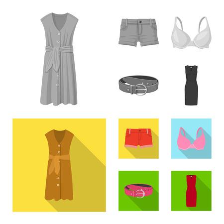 Illustration vectorielle de l'icône de la femme et de l'habillement. Collection de femme et porter une icône vectorielle pour le stock.