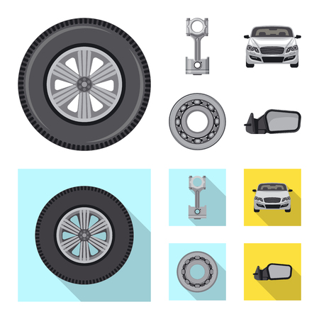 Vector design of auto and part. Collection of auto and car stock vector illustration. Standard-Bild - 116088386
