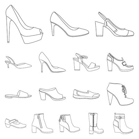 Na białym tle obiekt symbol obuwia i kobiety. Zestaw obuwia i stóp symbol giełdowy dla sieci web. Ilustracje wektorowe