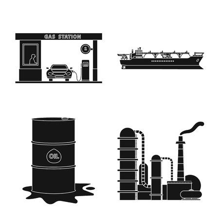 Vektordesign von Öl und Gas. Sammlung von Öl- und Benzinvektorsymbolen für Aktien.