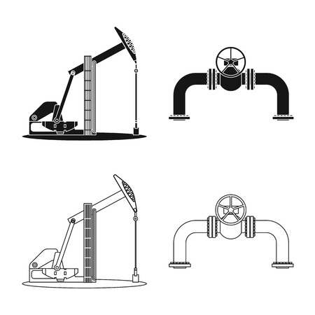 Isolated object of oil and gas. Collection of oil and petrol vector icon for stock. Illustration