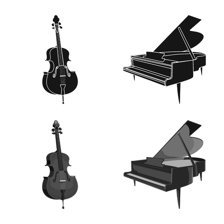 Vector illustration of music and tune. Set of music and tool stock symbol for web. Banque d'images - 116957597