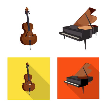Vector illustration of music and tune symbol. Set of music and tool vector icon for stock. Çizim