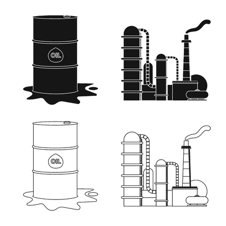 Vector illustration of oil and gas symbol. Set of oil and petrol stock symbol for web. Illustration