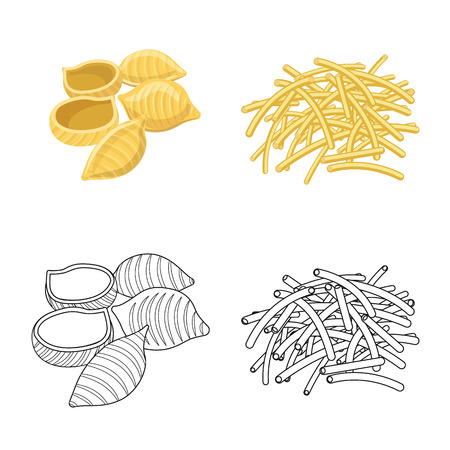 Vector illustration of pasta and carbohydrate sign. Set of pasta and macaroni stock symbol for web. Vettoriali